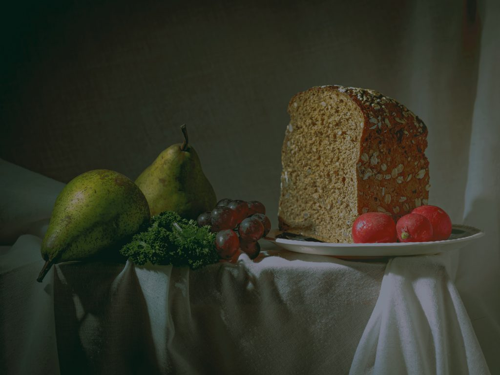 two pears and loaf of bread still life photograph shot in soft light by Sean P. Durham, Berlin, 2021, Copyright