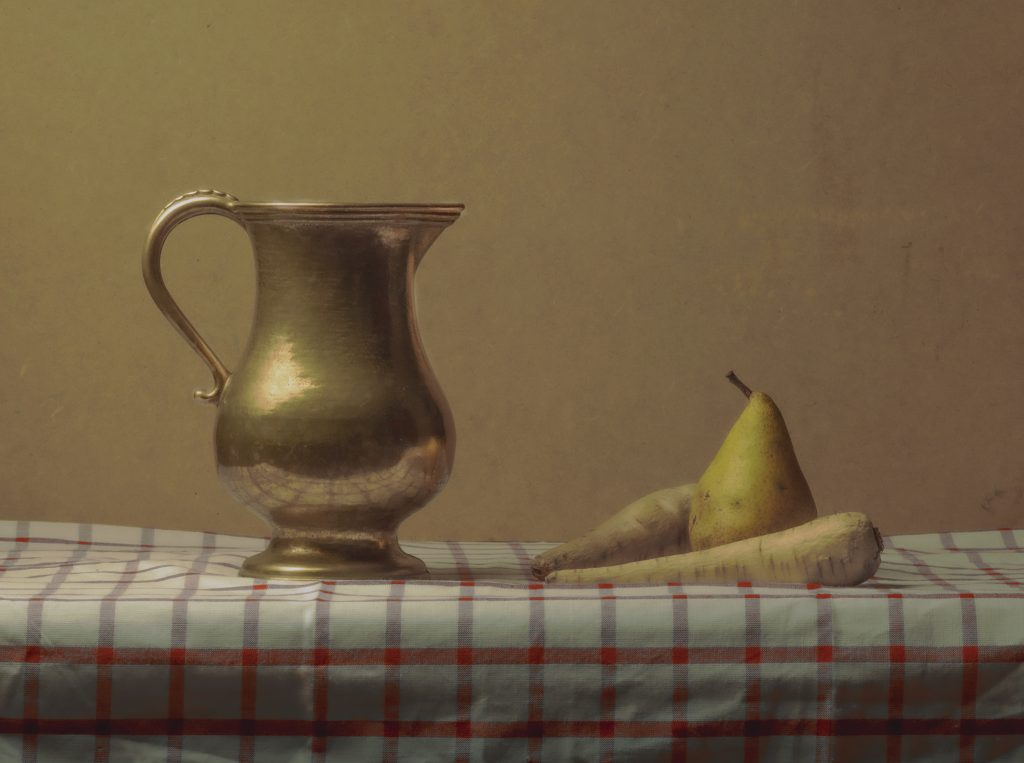 Brass Jug and pear with Turnip, ochre colours and background. still Life Photography by Sean P. Durham, Berlin, 2021